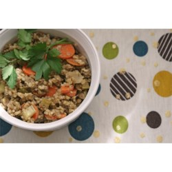 Lentil and Buckwheat Salad Recipe - Cooked lentils and buckwheat with carrots, onions, and celery are seasoned with a variety of spices and fresh herbs including cumin, crushed red pepper, marjoram, and thyme. Serve it as the main course, as a side dish, or on greens as a salad.
