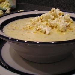 Popcorn Soup (Corn Chowder) Recipe - This will be a recipe that you won't lose--it is SO good! Kids will love the idea of using popped corn instead of croutons on top.