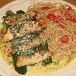 Lime Chicken with Cilantro Cream Sauce and Roasted Zucchini Recipe - Chicken over roasted zucchini with a creamy cilantro sauce features a hint of fresh lime juice and accompanied by linguine tossed with tomatoes and Parmesan cheese in this dinner recipe.