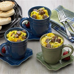 Wake Up Cups Recipe - A complete breakfast in a coffee mug, this sausage, hash browns, egg and cheese combo is ready to eat in less than 10 minutes.