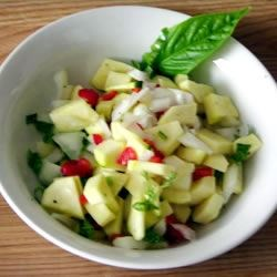 Zucchini Relish Recipe - A simple, colorful recipe prepared from fresh garden vegetables.  Goes especially well with salmon.