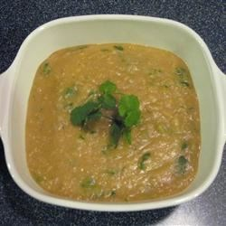 Lebanese-Style Red Lentil Soup Recipe - This is a wonderful, tangy, spicy soup that sort of resembles split-pea. I sometimes add grilled chicken breast or cooked and cubed sweet potatoes for texture.  Have fun with it!
