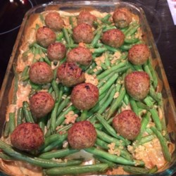 Swedish Meatball Casserole Recipe - A boxed beef and pasta skillet meal is used as the base for this creamy noodle casserole with meatballs.