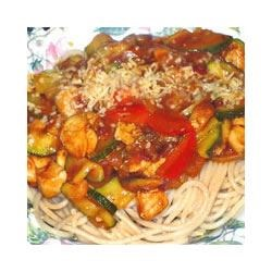 Lyndee's Chicken Penne Pasta Recipe - Some of the bests bites of summer come together in this colorful chicken and vegetable saute. Zucchini, squash, mushrooms and tomatoes are simmered with bits of sauteed chicken, then stirred into hot pasta and served with grated Parmesan.