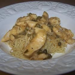 Chicken Piccata with capers & angel hair pasta