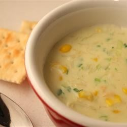 Crabmeat and Corn Soup Recipe - A rich chowder made with white kernel corn, fresh cracked crab meat, and green onions in a soup base of whole milk and half-and-half.