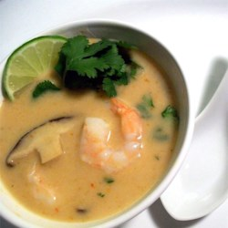 The Best Thai Coconut Soup Recipe and Video - This recipe uses a lot of ingredients common in Thai cooking to make a delicious and spicy soup featuring shrimp and shiitake mushrooms in a coconut milk flavored broth.