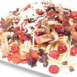 Chungles Pasta Recipe - Are you ready to walk on the wild side? Try this spicy saute of pepperoni, capers, olives, onions, garlic, tomatoes and mushrooms tossed with hot pasta and sprinkled with mozzarella cheese.