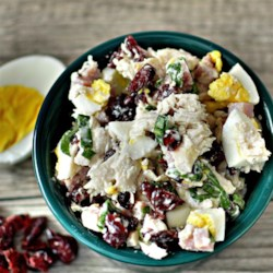 Leftover Thanksgiving Salad Recipe - Leftover Thanksgiving turkey morphs into a tasty chopped salad with assistance from ham, dried cranberries, fresh basil, and hard-cooked egg tossed in a light mayonnaise dressing.