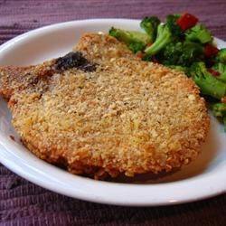 Famous Pork Chops Recipe - Pork chops coated with a crumbly cracker mixture and egg then baked.