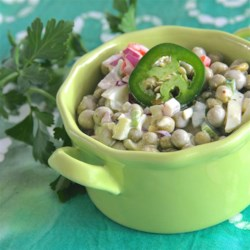Super Spicy Pea Salad Recipe - This one is not for the kids!  Super spicy and perfect for those hot summer days when you want something besides potato salad to take to the neighborhood BBQ.