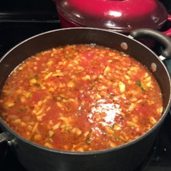 Lulu's Tomato Hot Pot Recipe - Italian sausage and dill pickles are the secret ingredients in this minestrone. Top with grated Parmesan, and serve with a hearty bread and green salad for a complete meal.