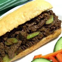 Byrdhouse Easy Ginger Beef Sandwiches Recipe - Stir-fried ginger beef is served hot on a hoagie, you could easily wolf the whole batch down alone!