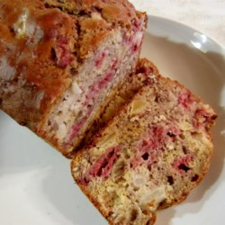 Raspberry/Pear/Pecan Bread Recipe - Raspberries, pears, and pecans are folded into this quick bread batter creating a delightful breakfast treat for the summertime.
