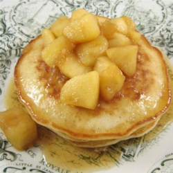 Oatmeal Pancakes with Apple Maple Sauce Recipe - Oatmeal pancakes with apple-maple sauce are the perfect recipe for hearty breakfast that everyone will love.