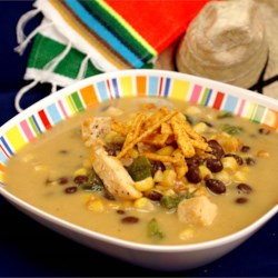 Cheesy Chicken Poblano Chowder Recipe - This semi-spicy, comforting soup goes great with corn bread.
