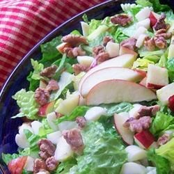 Apple, Brie, and Walnut Salad Recipe - This easy 5-ingredient salad comes together under 10 minutes.