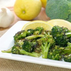 Roasted Broccoli Salad Recipe - Roast broccoli with a little olive oil and toss with a lemon-garlic dressing to make quick-and-easy roasted broccoli salad.