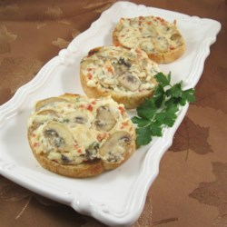 Truffle Bruschetta Recipe - This truffle bruschetta recipe involves topping baguette slices with a truffle-cream cheese sauce loaded with mushrooms that will certainly impress your guests.