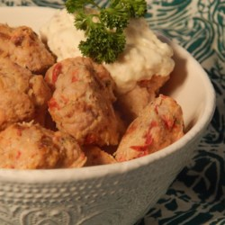 Savory Turkey Meatballs with Tangy Mustard Dip Recipe - Savory turkey meatballs served alongside a tangy, creamy mustard dip are a nice alternative to traditional beef and pork meatballs.