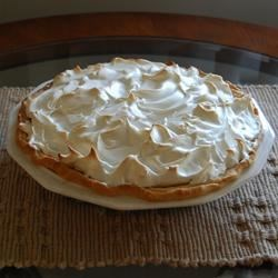 Butterscotch Pie I Recipe - The real deal! A homemade butterscotch pudding is topped with meringue and baked just until the meringue's peaks turn golden brown.