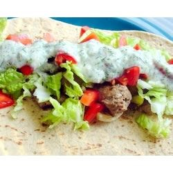 Souvlaki w/ veggies on wheat wrap & tzatziki sauce