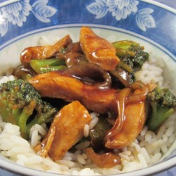 Broccoli and Chicken Stir-Fry Recipe - Make a quick weeknight dinner with this stir-fry recipe mixing chicken, broccoli, and onion in a mixture of soy sauce, ginger, and brown sugar.