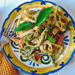Peanut-Free Tahini Vegetable Noodle Stir Fry Recipe - This Thai-inspired stir fry is loaded with fresh veggies quickly cooked in a red curry sauce with ginger and coconut milk.