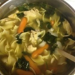 Never-Fail Chicken Noodle Soup Recipe - This never-fail chicken noodle soup made with a fryer chicken, egg noodles, onion, and spinach will win the hearts of everyone in your family.