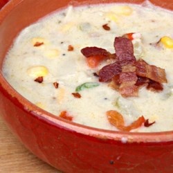 Potato Bacon Corn Chowder Recipe - Warm yourself and your family with a bowl of creamy potato, bacon, and corn chowder on cold weeknights.