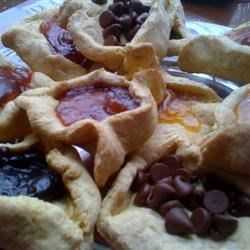 Hamentashen with fruit preserves and chocolate chips
