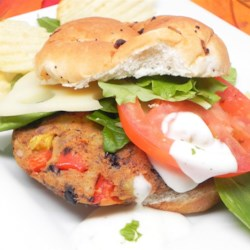 Black Bean and Potato Veggie Burgers Recipe - Black beans, potatoes, and a blend of vegetables come together in this recipes for well-flavored veggie burgers.
