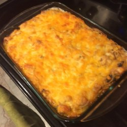 Chicken Tetrazzini Recipe - Leftover chicken flavors this baked spaghetti casserole topped with Cheddar cheese.