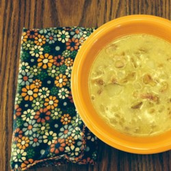 German Potato Bacon Soup Recipe - Bacon, onions, and potatoes are a classic combination utilized in this soup seasoned with caraway seed and marjoram.