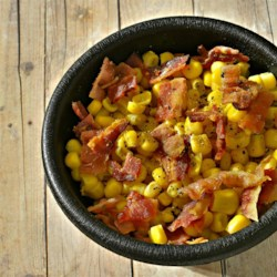 Corn and Bacon Recipe - This recipe is for a very simple and quick side dish of corn and diced bacon. The salty zing of the bacon with the freshness of the corn is very delicious.