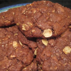 Chocolate Oatmeal Cookies Recipe - Oatmeal cookies spiced with cinnamon and made chocolaty with cocoa and chocolate chips.
