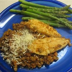 Chicken and Lentils Recipe - This recipe is an unusual dish that all the family loves and is requested by all from the smallest to the adults. Don't let the 'lentil' ingredient scare you. It is absolutely delicious and very nutritious. It is the dish most often requested in our home. The recipe directions look complicated, but are very simple.