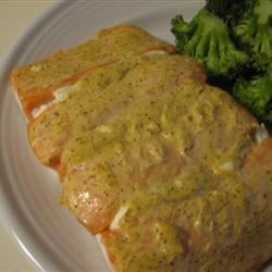 Goat Cheese Salmon Recipe - Salmon fillets are baked with herbed goat cheese and prepared Dijon mustard mayonnaise blend. So simple, so delicious!