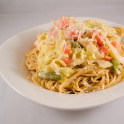 Maryanne's Pasta Primavera Recipe - Most people hate Brussels sprouts but they are very tasty in this rich, lower-fat dish.
