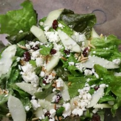 Cornucopia Salad Recipe - A unique salad combines a light and tangy dressing with red leaf lettuce, candied almonds, dried cranberries, chopped apple, avocado, and blue cheese.