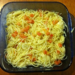 Greek Spaghetti II Recipe - Spaghetti is tossed with browned butter, Parmesan and oregano and briefly baked.