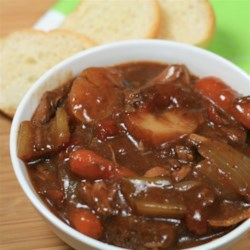 Easy Beef Stew for the Slow Cooker Recipe - Cook beef, tomatoes, carrots, potatoes, celery, and onion all in the slow cooker for an easy, hands-off dinner.