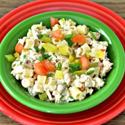 Karen's Salmon Salad Recipe - A cold pasta salad with tomato, green onion, pickles and salmon in a light mayonnaise dressing.