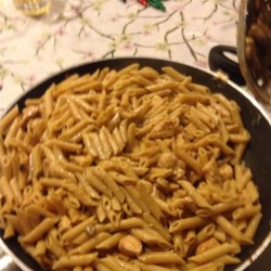 Healthy Creamy Chicken and Pasta Recipe - Whole wheat penne pasta is topped with a creamy mushroom sauce and chicken.