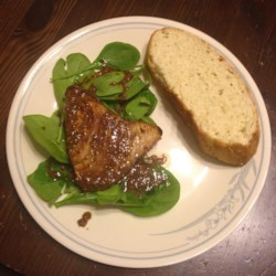 Savory Pan-Seared Tuna Steaks Recipe - Tuna steaks marinated in a sesame oil and molasses sauce are pan-fried for a quick and easy weeknight meal that feels fancy.