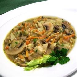 Mushroom and Artichoke Soup Recipe - Need to feed 50 vegetarians?  This delicious soup (and there is lots of it) is full of artichoke hearts, white mushrooms, dried portobello mushrooms, red onion, shallots, and carrots.  A great recipe for a big party.