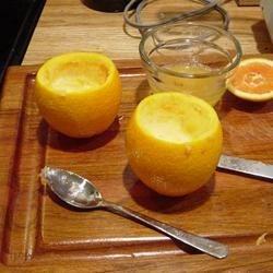 Hollowed oranges using grapefruit spoon