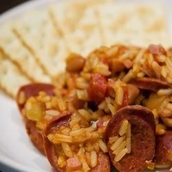 Texas Jambalaya Recipe - This is a hearty, filling meal - A variation on the Classic, using spicy tomatoes with green chiles, and ranch-style beans. There's only one pot to clean up!