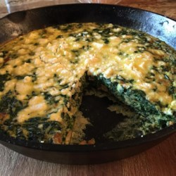 Chef John's Spinach and Feta Pie  Recipe - Bacon and the Greek tastes of spinach and feta cheese combine in an easy recipe that's like a combination of a baked omelet and a quiche. It's great at any temperature and for any meal.