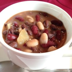 Spicy Three Bean Soup Recipe - This wonderfully hearty soup is great for chilly fall or winter nights. Three types of beans and plenty of vegetables combine in this flavorful medley. Dry beans may be substituted, but will require soaking overnight.
